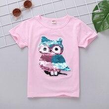 VIDMID/футболка для мальчиков и девочек; летние хлопковые детские футболки с короткими рукавами с блестками; детская повседневная одежда; Топ 7083 02