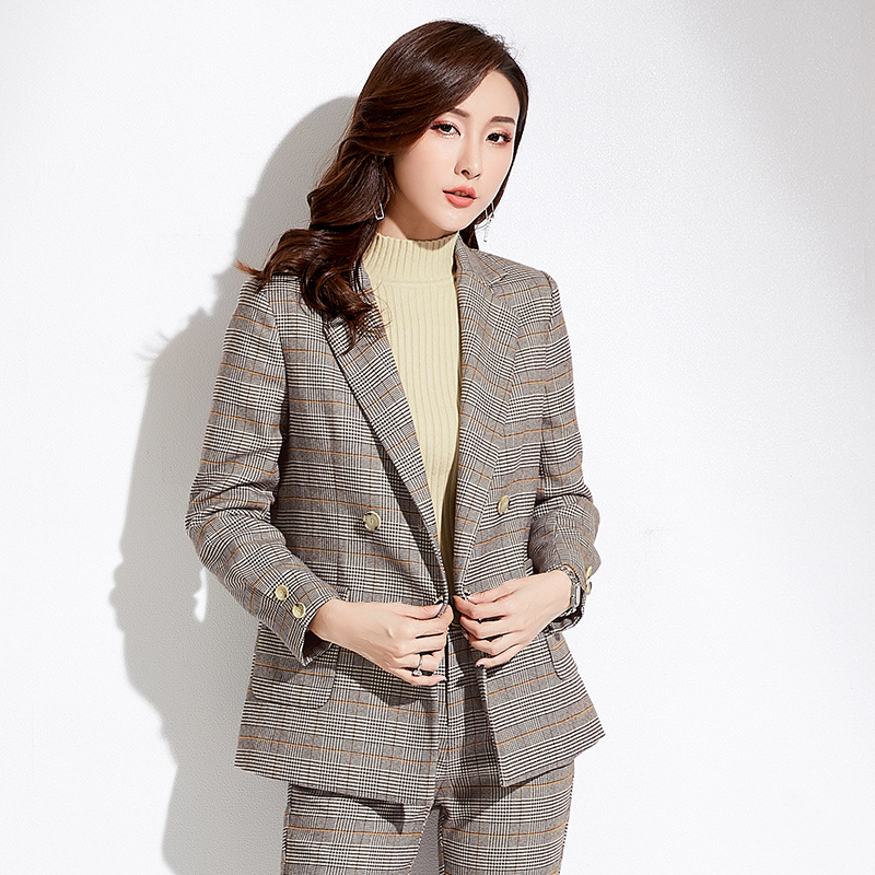 Shuchan 2019 New Korean Women Blazers And Jackets With Pockets Plaid Notched Double Breasted Fitted Female Jacket Woman Office