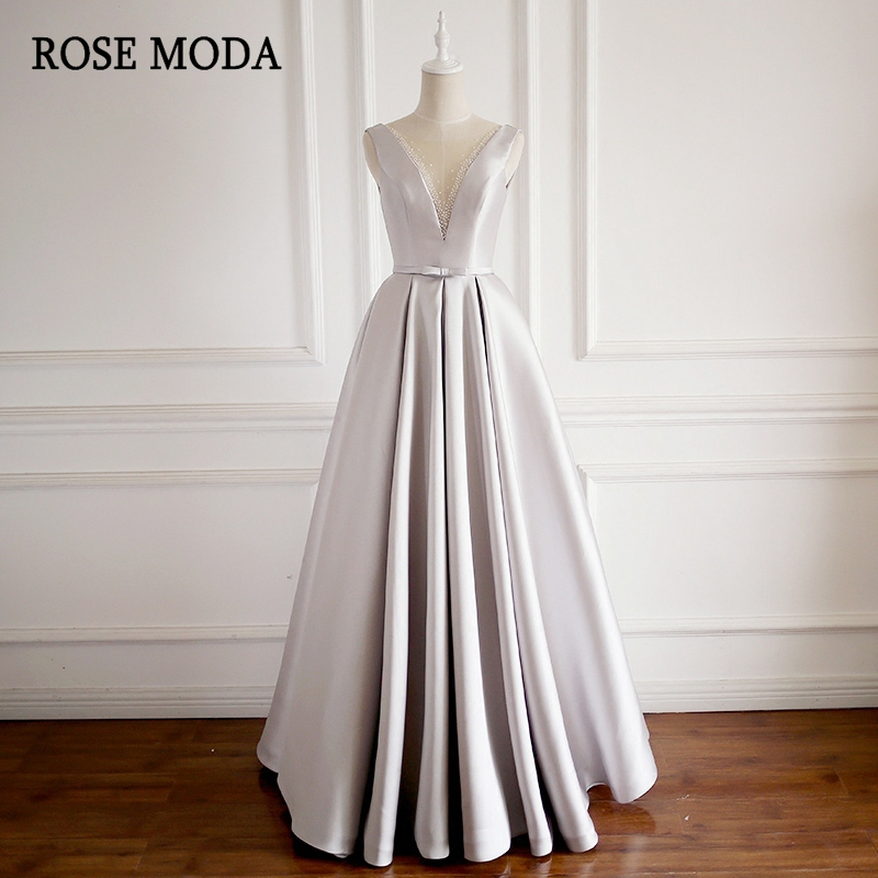 Rose Moda Sexy V Neck Silver Long   Prom     Dresses   Reflective   Dresses   2019