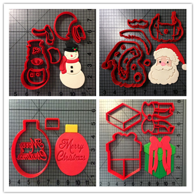 Custom Made 3D Printed Christmas Santa Claus Snowman Present Ornament Fondant Cupcake Top Cookie Cutter Set
