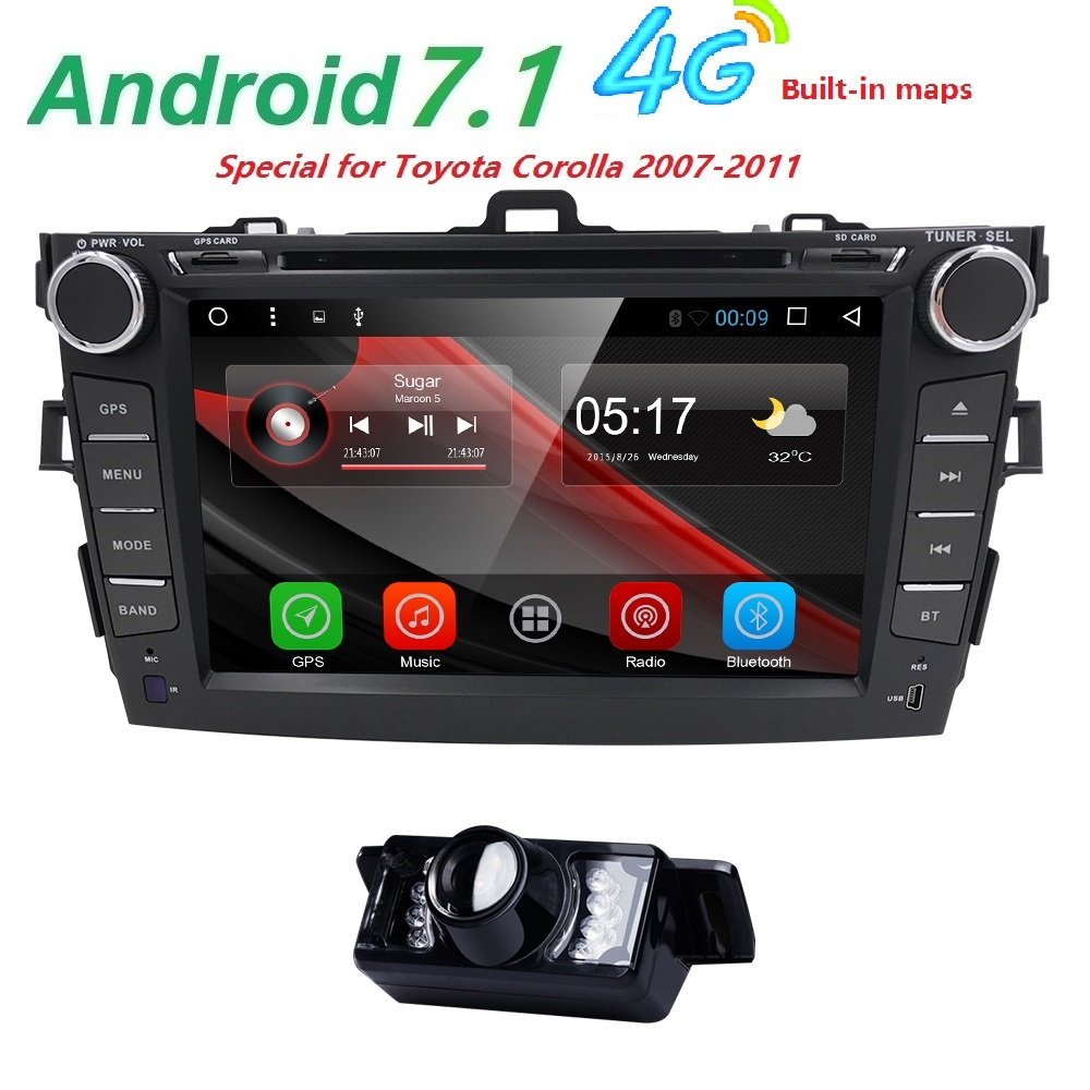 Autoradio 2 din Android 7.1 Car DVD Player For Toyota corolla 2008 2007 2009 2010 2011 Multimedia head unit gps navigation Wifi цены онлайн