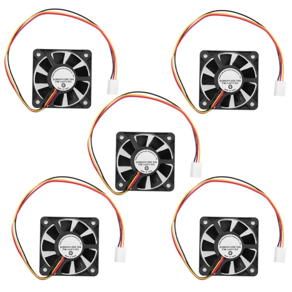 1/2/5Pcs 50*50*10mm 3Pin CPU Cooler Fan Heatsinks Radiator CPU Cooling Brushless Fan Ventilador For Computer Desktop PC 12V