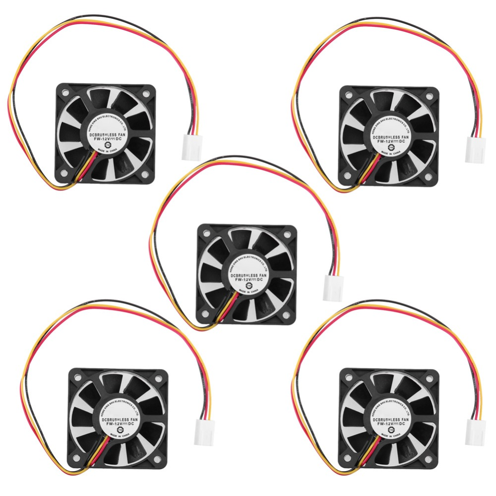 1/2/5Pcs 50*50*10mm 3Pin CPU Cooler Fan Heatsinks Radiator CPU Cooling Brushless Fan Ventilador for Computer Desktop PC 12V