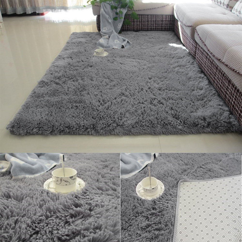 Urijk 1PC Super Soft Gray Color Antiskid Soft Carpet Modern Carpet Mat For Living Room/bedroom Rug Bedside Rugs