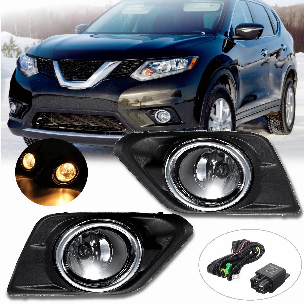 1 paire Chrome Objectif Clair De Voiture Brouillard Lumière Lampe Pour Nissan Rogue SUV 2014 2015 2016 Avec Ampoules Commutateur Lunette kit de Remplacement