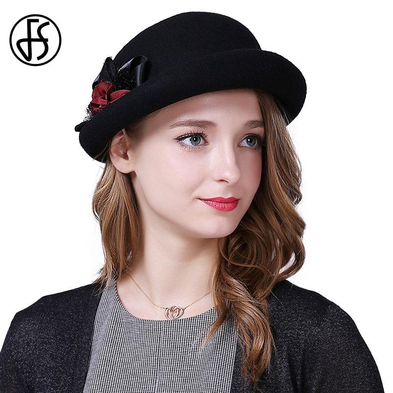 7ba36dc69c188 French Women Winter Hat Vogue Wool Felt Fedora Big Bowknot Fashion Ladies  Black Red Wedding Party ...