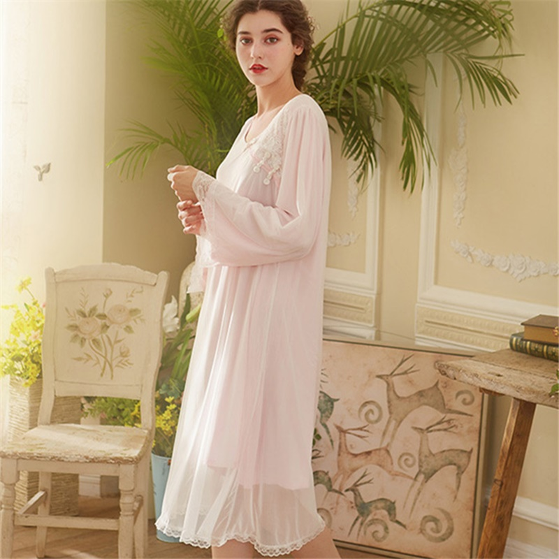 97c2c0a8ac Victorian Nightgown Autumn Sleepwear Women Night Wear Vintage Lace Slash  Home Wear Sleeping Dress Long Cotton Night Shirt H722-in Nightgowns    Sleepshirts ...