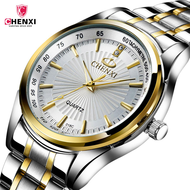 CHENXI Watches Men Stainless Steel Quartz Golden men's Wristwatches mens watches top brand luxur relogio Masculino Gift Clock 25 orkina golden watches for men top luxury brand mens quartz wristwatches stainless steel band working sub dials 6 hands watches