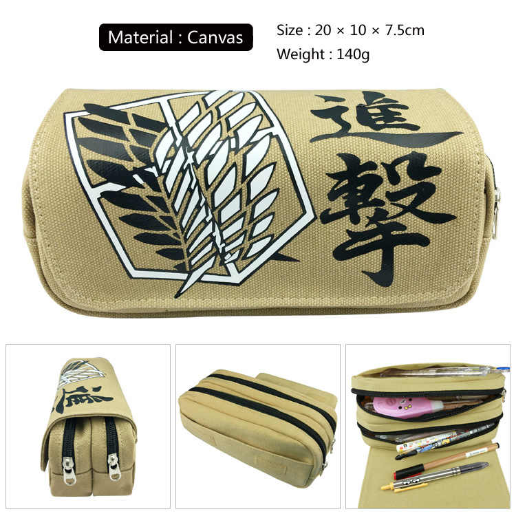 Anime Attack on Titan Cosplay Pen Bag Students Pencil Case Zipper Canvas Cosmetic Makeup Bags