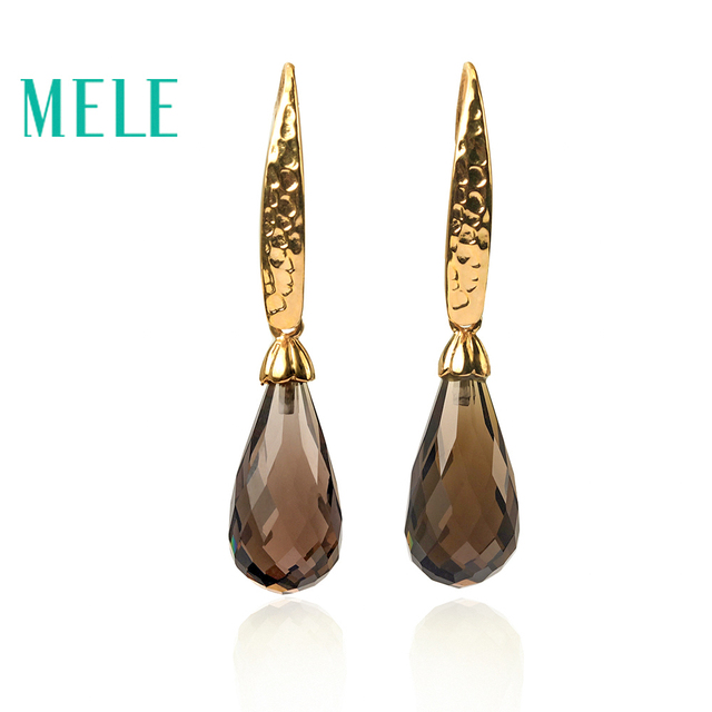 MELE Natural smoky quarts silver earring, tear drop 10mm*20mm, deep color and all clean quality, nice cutting, only this one