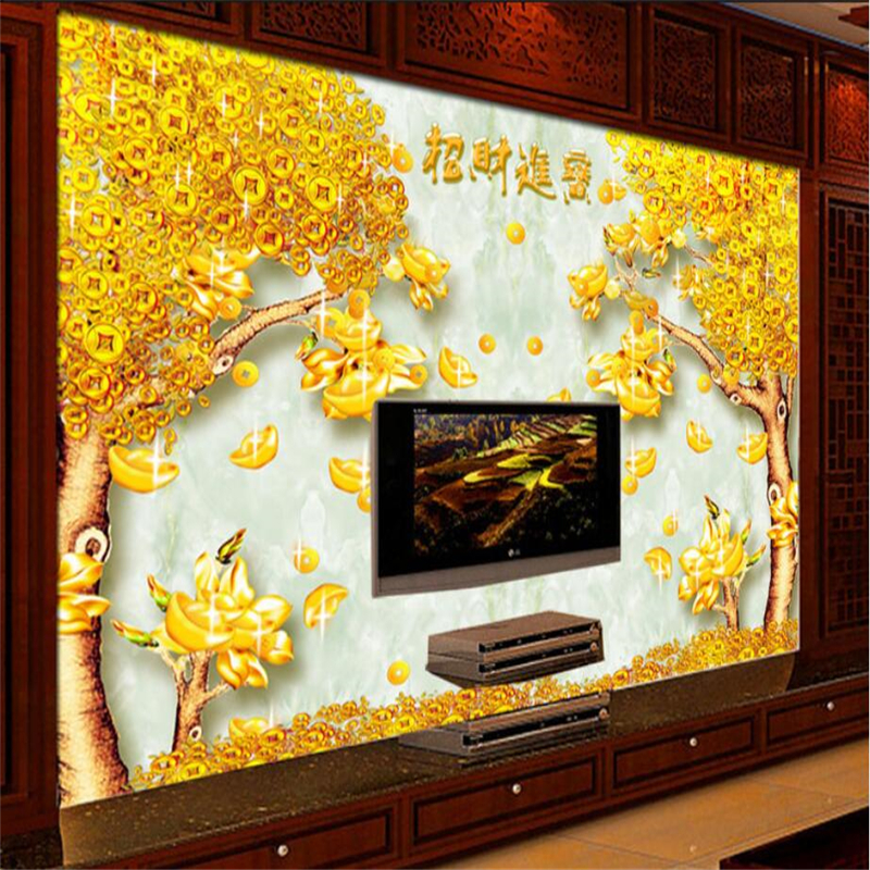 Painting Supplies & Wall Treatments Custom 3d Photo Wallpaper Livingroom Mural Money Tree Jade Carving 3d Picture Sofa Tv Background Non-woven Wallpaper For Wall 3d Suitable For Men And Women Of All Ages In All Seasons Wallpapers