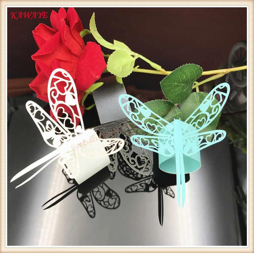 100 sztuk laserowo wycinane dragonfly pierścień na serwetki dekoracje weselne ręcznik klamra dekoracje domu stoły obiadowe dostaw 5ZM10