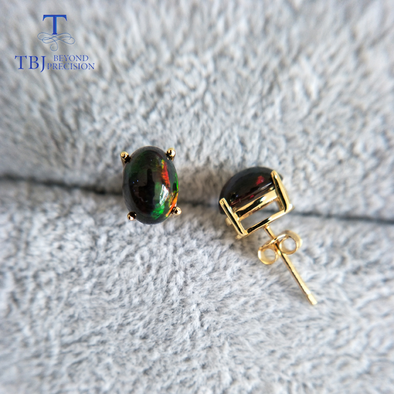 TBJ natural Top quality black opal earrings S925 silver yellow gold simple design for women daily