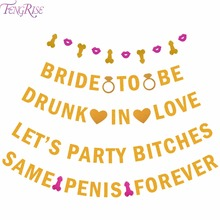 FENGRISE Glitter Same Penis Forever Banner Garland Bachelorette Favors Girls Night Out Bridal Shower Hen Party Supplies