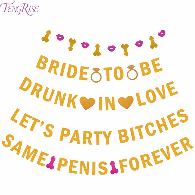 fengrise glitter same penis forever banner drunk in love favors girls night out bridal shower hen