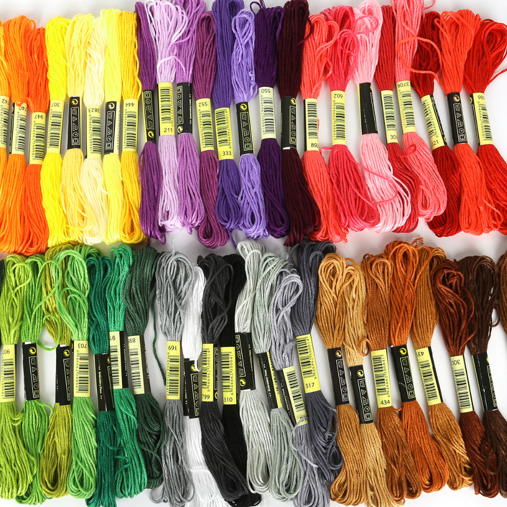 One Label Multicolor 8 Pcs Similar DMC Thread Cross Stitch Cotton Sewing Skeins Embroidery Thread Floss Kit DIY Sewing Tools