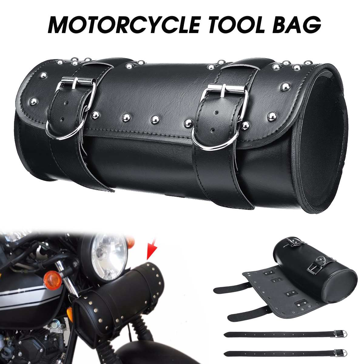 Universal Motorcycle PU Leather Saddlebag Tool Storage Bag Front Fork Roll Saddle Luggage Bags For Harley Bobber/Suzuki/Honda