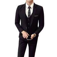 (Jacket+Pant+vest) Men Wedding Suit Male 3 Pieces set Korean version Blazers Slim Fit Business Formal Costume Casual Party