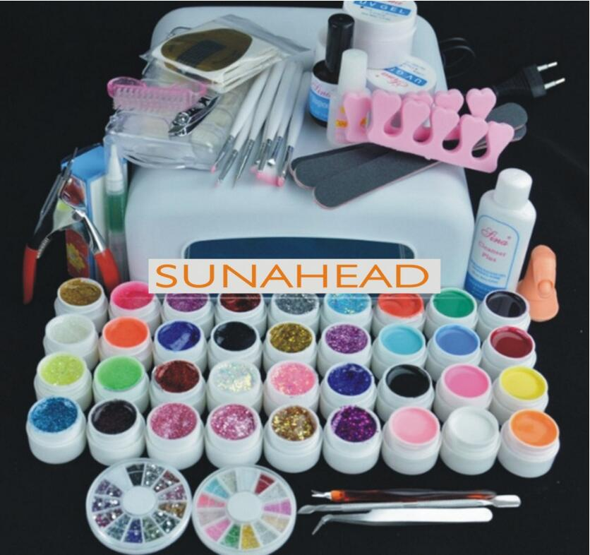 New starter kit 36W Lamp / Light auto-timer 120s & 36 Colors UV builder GEL for Nail Art extensions Tool Manicure set