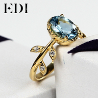 EDI Classic Original Design 2017 New Rings Natural Blue Topaz Wedding Real 925 Sterling Silver 18K