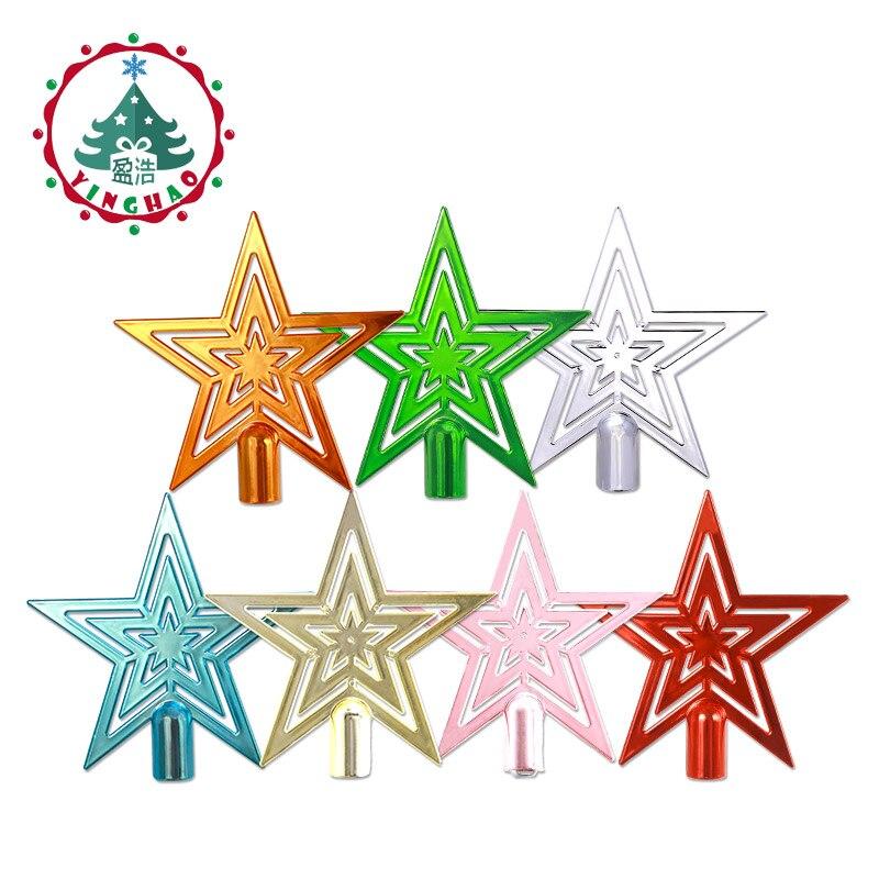 Inhoo 1 pcs Arbre De Noël Haut Étoiles Arbre De Noël Étoiles Topper pour Table De Noël Ornement De Noël Décoratif Multicolore en option