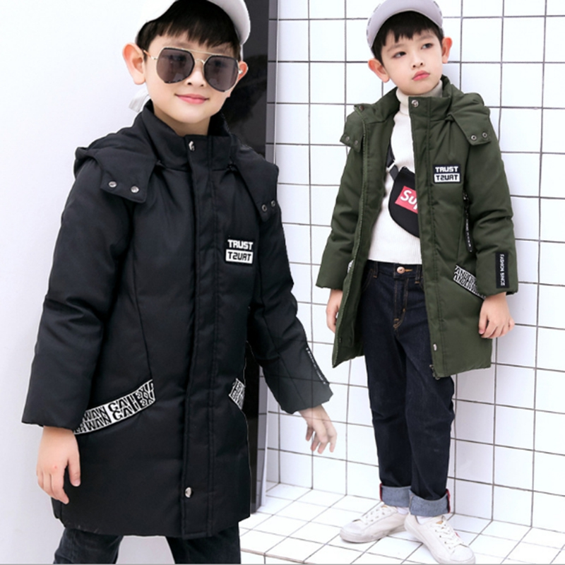 Children 's clothing 2017 winter new boy down jacket in the children' s children thick hat hood in the long section sky blue cloud removable hat in the long section of cotton clothing 2017 winter new woman