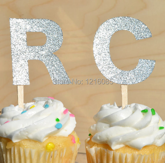 Personalized initials glitter Cupcake Toppers wedding food picks ...