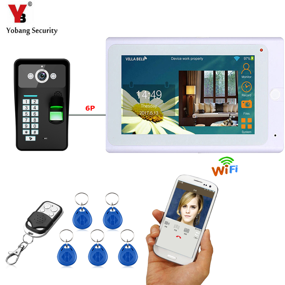 YobangSecurity Wifi Wireless Video Door Phone Doorbell Intercom Camera System Fingerprint RFID Password With White 7Inch Monitor