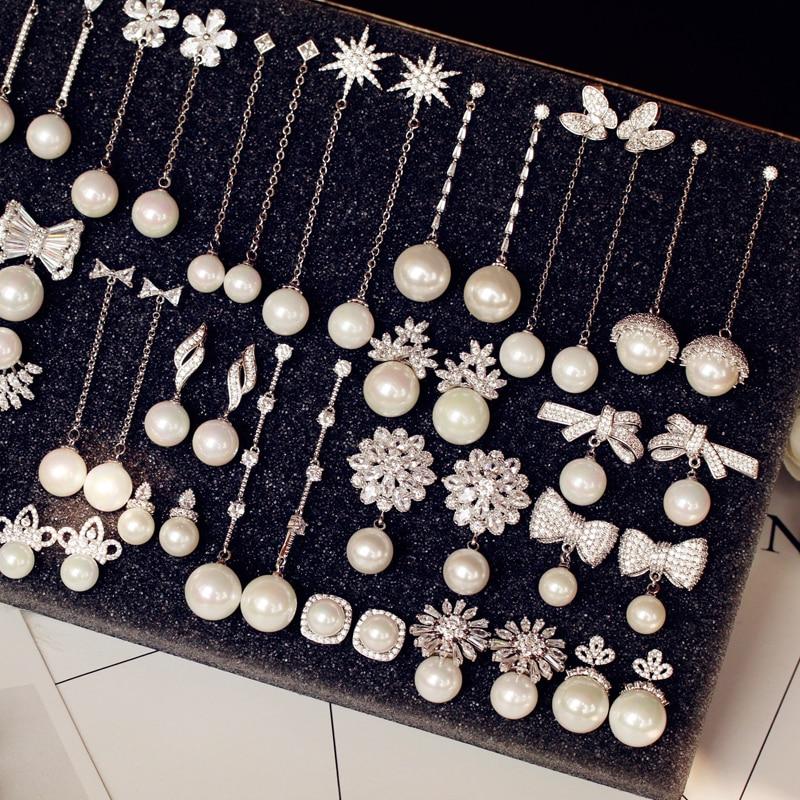 Luxury Vintage Flower Cubic Zirconia stone Simulated Pearl Earrings Long Drop Women bridal Jewelry Chandelier earrings