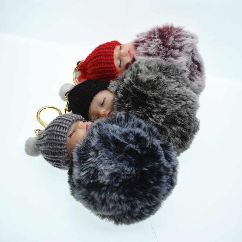 1 Pcs Bonito Fofo Bebê Dormindo Chaveiro Bola de Pêlo de Coelho Pompom Corrente chave Do Carro Chaveiro Das Mulheres Chave Titular Bag Charme Pendant jóias