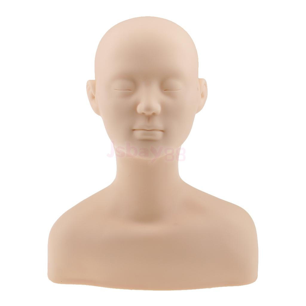 New Soft Silicone Mannequin Manikin Head with Shoulder Bone Face Body Massage Training Eyelash Extension Make Up Practice Model 1pcs new female training silicone mannequin pvc manikin head model wig hair glasses hat display make up face closed eye practice