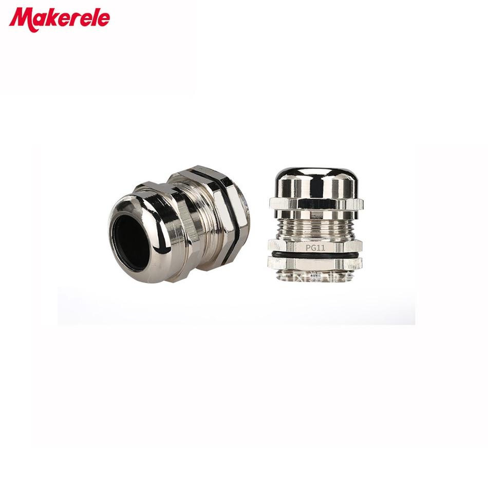10 pcs/lots PG13.5 Nickel laiton métal étanche presse-étoupe Joints IP68 câble connecteur pour câble 6-12mm
