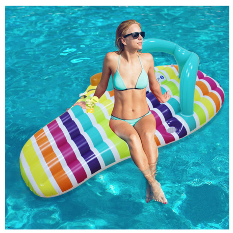 Inflatable Swimming Ring 150*75cm Big Pool Ring Float Boat PVC Water Bed Swimming Float Water Mattress Inflatable Lounge Chair