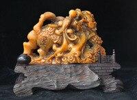 Свадебные украшения 7 Китай Tianhuang Шушан камня резные Кирин Foo Фу Собака Лев печать штамп перстень