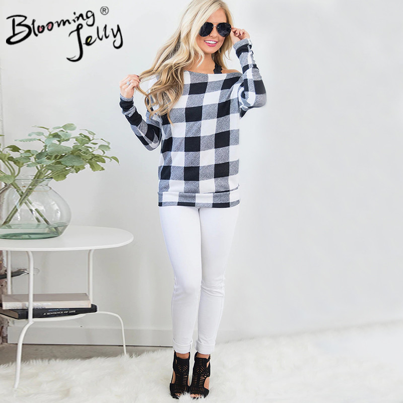 Blooming Jelly Fashion One Shoulder Plaid Top Female Skew Collar Knitted Casual Blouses Long Sleeve Autumn&Winter Tops Blusas