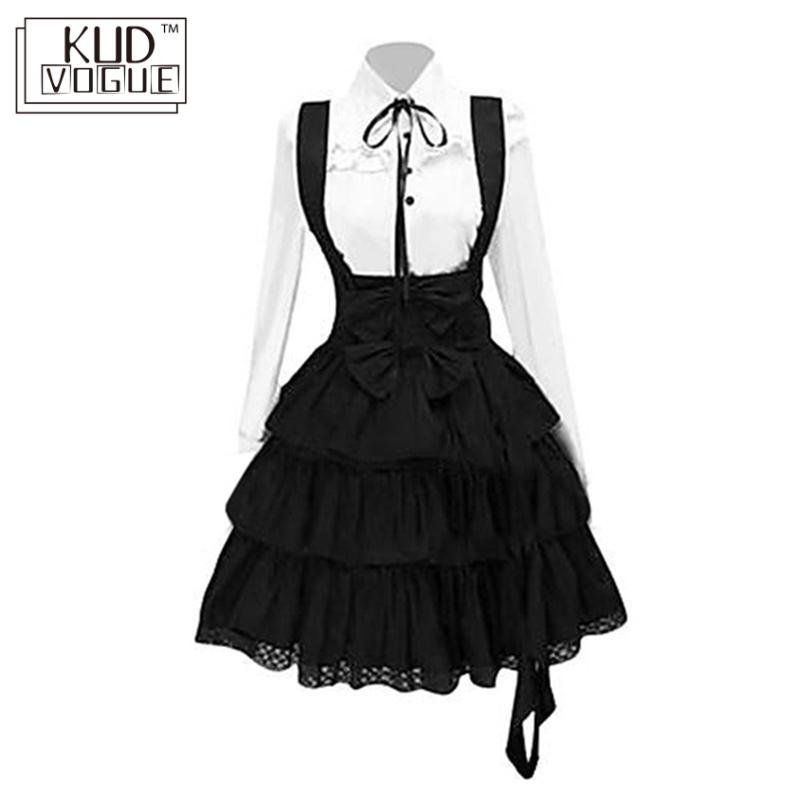 Women Retro Gothic Lolita Dress Vintage Inspired Women Outfits Cosplay Girl Black Bow Long Sleeve Cake Shirt Dress 5XL Plus Size