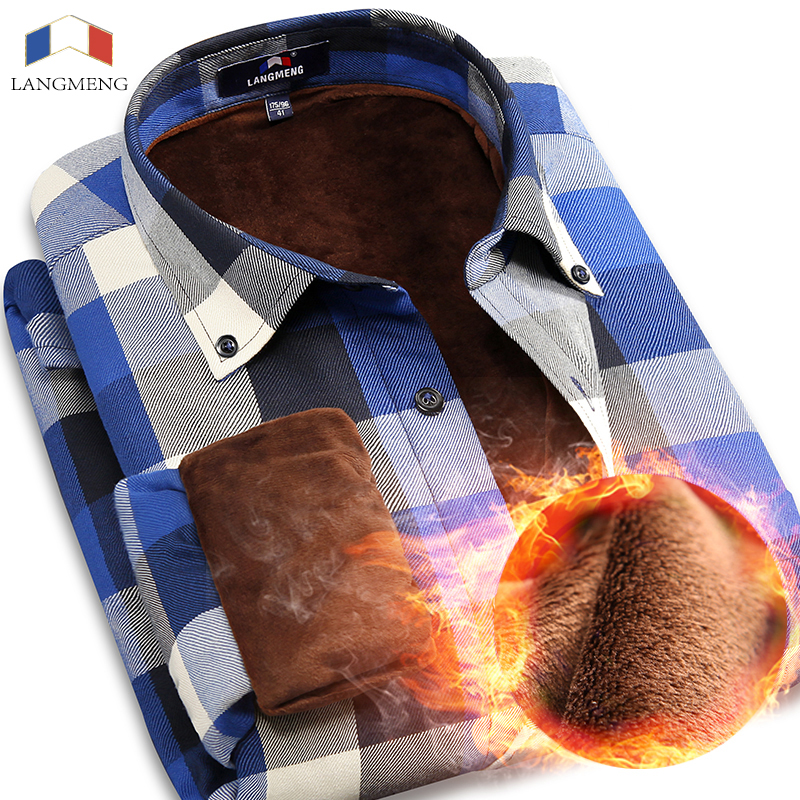 Langmeng 2017 camisa casual de invierno cálido camisas de manga - Ropa de hombre