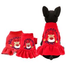 Pet Red Skirt Dog Christmas Dress Puppy Cotton Elk Print Skirt Perfect Ornament for Christmas Funny Cute Costume For Girl Party(China)