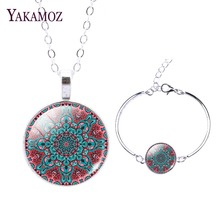 2017 Mandala Flower Buddhism Zen Pendant Necklaces Bracelets Jewelry Sets For Women Fashion Silver Plated Necklaces Earrings