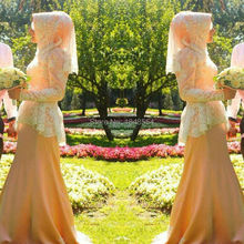 Meng Zhi Yuan JWD443 Nude customized A-line long sleeves hijab muslim wedding dresses