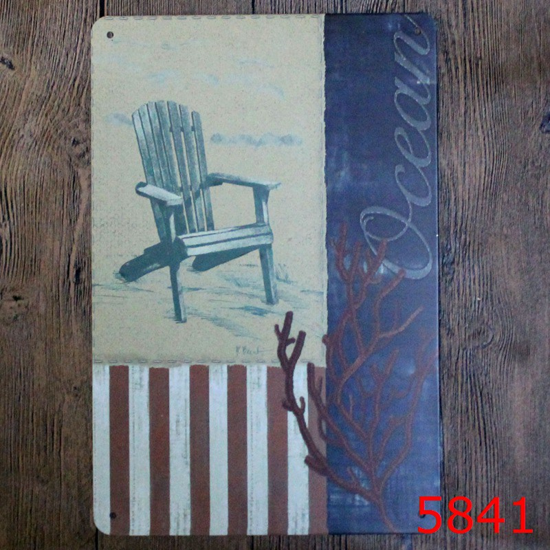Ocean Chair Printing Metal Wall Sticker Vintage Blue Style Tin Sign Iron Antique Tin Painting Pub DECOR 20X30CM House Decor