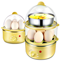 Household Mini Multifunction Double Layer Timing Stainless Steel Automatic Power off Egg Boiler Egg Steamer Breakfast Machine|Egg Boilers| |  -