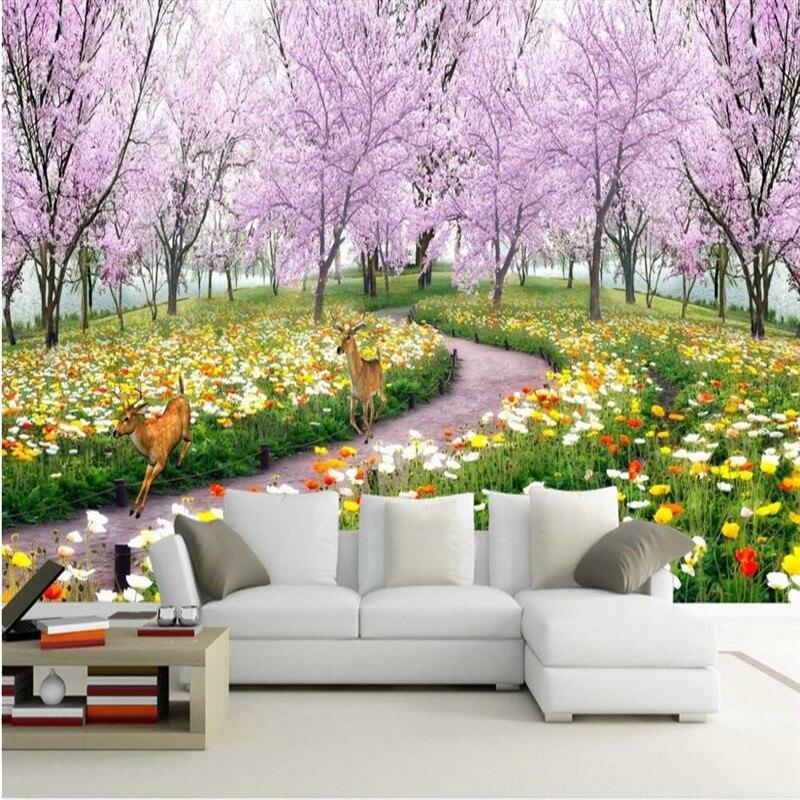 ᗕ papier peint Romantique cerise arbre le salon canapé lit TV