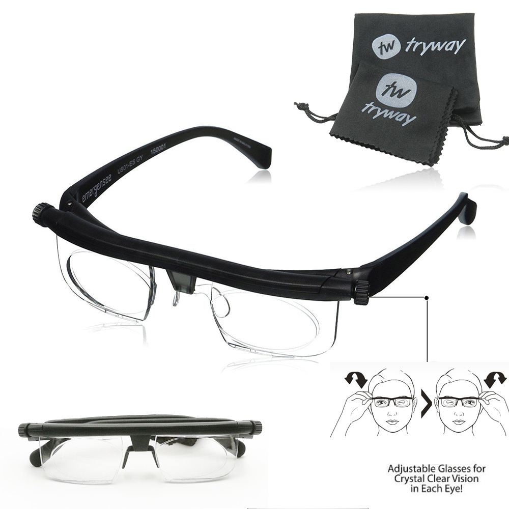 Adjustable Strength Glasses Lens Eyewear DISTANCE Reading Glasses Focus For -6D To +3D Variable Lens Correction Myopia Glasses