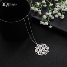 цена на My Shape Hollow Round Pendant Customizable Stainless Steel Jewelry Fashion Necklaces for Women 2018 Statement