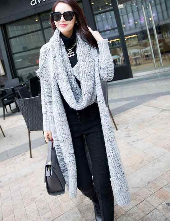 2018 Для женщин серый свитер длинный кардиган осень-зима с длинным рукавом Свободный вязаный кардиган женский свитер с шарфом