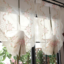 Quality 3d Embroidered Balloon Curtain White Living Room Curtain Flower  Roman Curtain