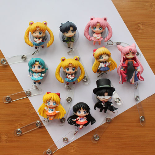 Sailor Moon Cartoon Retractable Badge Reel High Quality Silicone Student Nurse Exihibiton ID Name Card Badge Holder Office Suppl