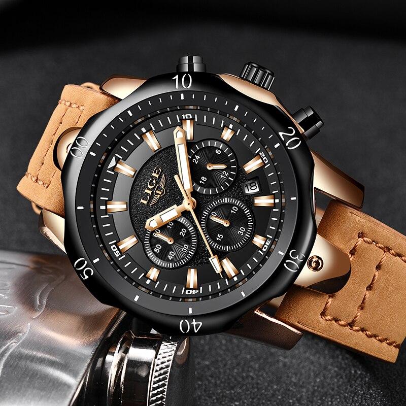Relojes Hombre 2019 New LIGE Quartz Wristwatch Male Large Dial Gold Black Leather Watches Men Wild Sports Waterproof Chronograph