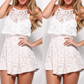 women summer beach playsuit Polyester Women Romper backless with Lace patchwork jumpsuit